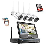 SANNCE Wireless CCTV Camera System 720P 4CH HD NVR Build-in 10.1' LCD Monitor with 4 1280TVL 1.0MP Weatherproof Surveillance IP Camera, Remote Access One 1TB Surveillance Hard Drive Included