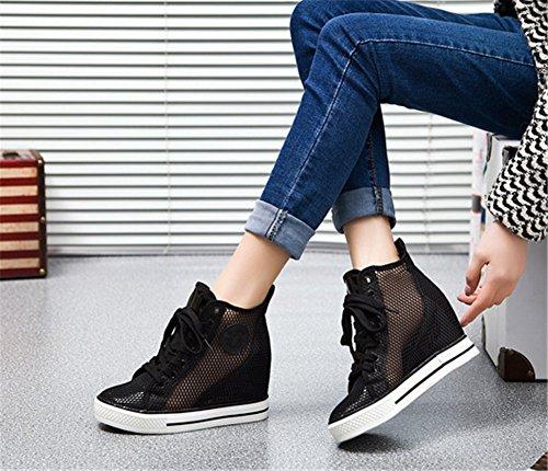 Wealsex Baskets Montante Compensée Mesh Lacets Chaussures Printemps été Casuel Respirante Femme Noir