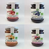 Composta/Marmellata biologica senza aggiunta di zuccheri - 4x210gr: fragola, frutti di bosco, albicocche e mirtilli neri
