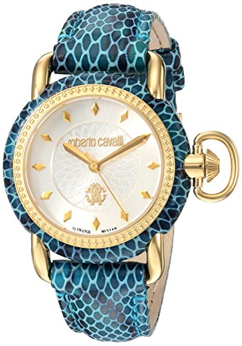 Roberto Cavalli by Franck Muller Women's 'MOVING CROWN DETAIL' Quartz Stainless Steel and Leather Casual Watch, Color:Blue (Model: RV1L017L0076)