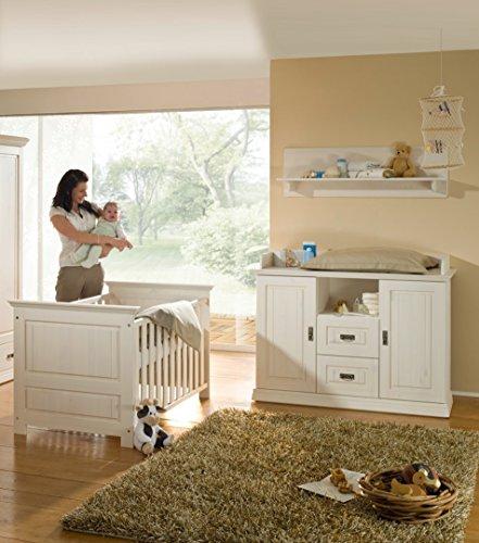 K & G Moebel GmbH Habitación de bebé de 4 Piezas, Cama de bebé, cómoda Cambiador, Estante de Pared...
