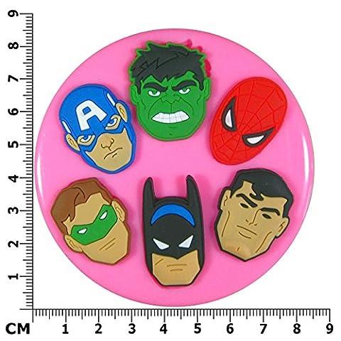 Superhero Faces Moule en Silicone pour décoration de gâteau/Cupcake Toppers Décoration de gâteaux glaçage pâte à sucre Par les fées Blessings outil