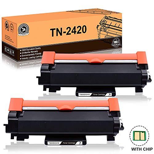 FITU WORK TN2420 TN2410 (avec Puce) Cartouche Toner Compatible pour Brother MFC-L2710DW MFC-L2730DW MFC-L2750DW DCP-L2510D DCP-L2530DW DCP-L2550DN HL-L2310D HL-L2350DW HL-L2370DN HL-L2375DW - 2xNoir