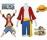 Japanische Anime One Piece Cosplay - 2 Jahre später Monkey D. Ruffy Kostüm Kombination, Größe S: (Höhe 155-160 cm, Gewicht 40-50 kg)