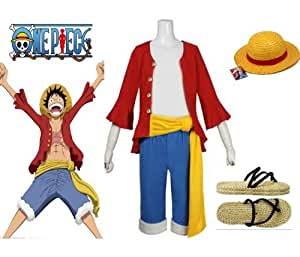 One Piece Monkey D. Luffy Cosplay Costume - 2 ans plus tard Monkey D. Luffy Costume combinaison, taille XXL:(175-182cm,70-80 kg)
