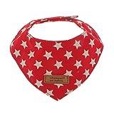MagiDeal Vintage Hundehalstuch Dreieckstuch Hunde Halsband Bandana Katzenhalsband Tuch aus 100% Baumwolle - Rot, S