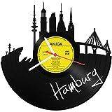 GRAVURZEILE Wanduhr aus Vinyl Schallplattenuhr Skyline Hamburg 2018 Upcycling Design Uhr Wand-Deko Vintage-Uhr Wand-Dekoration Retro-Uhr Made in Germany