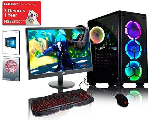 ADMI GAMING PC PACKAGE: Ordenador de sobremesa de gran alcance, monitor de 21.5 pulgadas 1080p, teclado y ratón (PC SPEC: AMD A6-6400K 4.1GHz procesador de doble núcleo con gráficos Radeon HD 8470D, USB 3.0, 500W PSU, 1 TB de disco duro, 8 GB de RAM, Wi-Fi, Kolink Observatory caso de juego, pre-instalado con sistema operativo Windows 10)