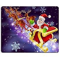 Luxlady Mousepads Christmas illustrazione di Babbo Natale sulla slitta con volante nella sua slitta o Night Image 21358055Customized Art desktop laptop Gaming Mouse pad - Volante Slitta