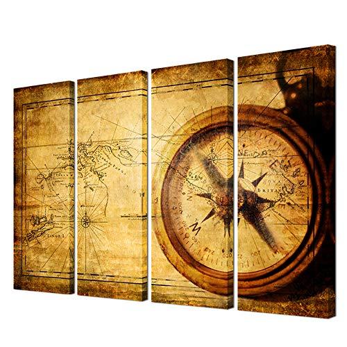 VVOVV Wall Decor vvovv-Navigation Leinwand Gemälde Groß Vintage Weltkarte Wand Art Home Decor Messing Antik Sailing Kompass Bild gerahmt Adventure Ocean Map Poster Retro -