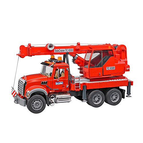 (bruder 02826 Toys Mack Granite Kran-LKW mit Light & Sound Modul, rot)