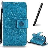 Schutzhülle für Nokia Lumia 630 Blau,Slynmax Mandala Blume Hülle Wallet Case Handyhülle für Nokia Lumia 630/635 Tasche Klapphülle Flip Cover Ledertasche Brieftasche Lederhülle Handytasche,Flower