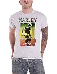 Bob Marley T Shirt Rasta Football Distressed Logo Official Mens Heather Grey