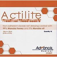 ACTILITE Wundkompresse Honig imprägniert Tüll, 10x 10cm, 10Stück preisvergleich bei billige-tabletten.eu