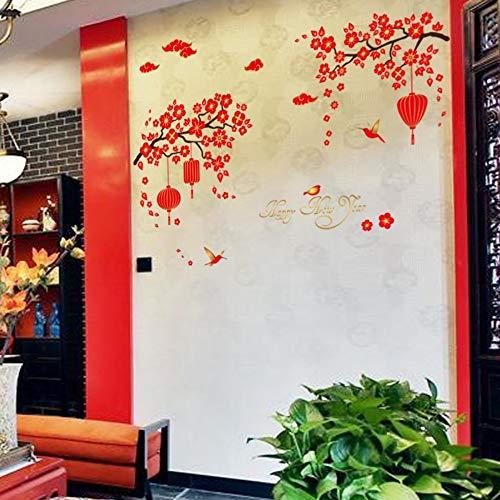 skwffSchlafzimmerwandaufkleber rote Pflaume rote Laternen hoch hängend entfernt werden kann Neujahr Urlaub Wand st -