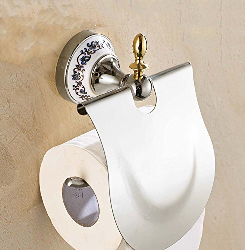 Wandmontage Toilettenpapierhalter,Edelstahl Toilettenpapierhalterung,WC-Papierrollenhalter,Toilettenpapierhalter mit Deckel Wandmontage Badzubehör Dekor,Papierrollenhalter(Chrom) - Chrom Papierrollenhalter