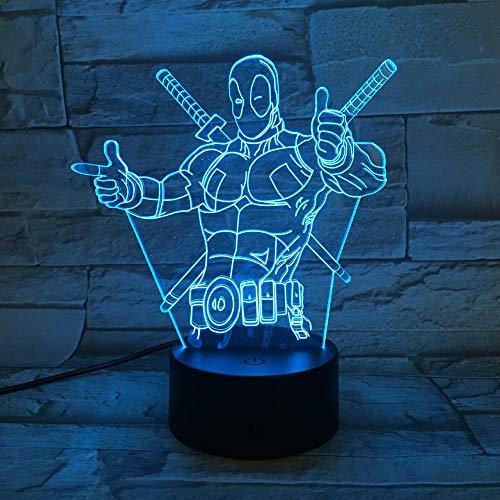 Nachtlicht Optical Illusion Lamp Mode Led Spielzeug 3D Illusion Lampe Marvel Anti-Hero Deadpool Figur Farbwechsel Stimmung Neuheit Lampe Urlaub Geschenke