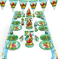NashaFeiLi Birthday Party Supplies, Dinosaur 66PCS Kit Plates, Cups, Table Cover,Napkins,Straws, Spoons, Forks Decorations Set for Boy Girl