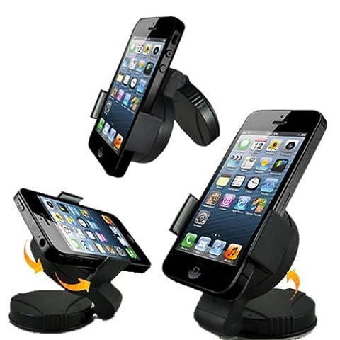 A&M Support Voiture Universel avec Fixation Pare Brise/Tableau de Bord pour Iphone 4S/5/Samsung Galaxy S2/S3/S4/Htc One/Sony Xperia/Nokia /Lg/GPS Tomtom -/Garmin (Produit Import)