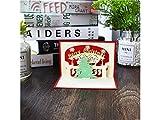 kelaina Dedicated Grußkarte Weihnachten 3D Pop up Weihnachten Baum und Glocke Einladung Karte mit Umschlag (rot)