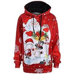 Idea Regalo - KOLY Felpe con cappuccio da snowman di Babbo Natale di Babbo Top Pullover Sweatershirt Giacche e cappotti Jumper Hoodies Pullover Casuale Stampa di 3D Manica lunga Felpe Magliette (Red, XL)