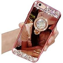 Funda iPhone 6, Vandot [Rotación de 360 grados] Brillante Anillo Kickstand Cristal Brillante Bling Soft Back TPU Funda de Parachoques con Maquillarse Espejo para iPhone 6 6s (4.7), Color Rosa