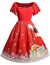11610dbad0 RoseGal Women's Vintage Patchwork Flare A-line Floral Party Dress Christmas  Plus Size Santa Claus