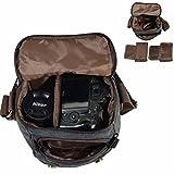 Neuleben Wasserdicht Klein Kameratasche SLR-Tasche Vintage Fototasche aus Canvas Unisex für Spiegelreflexkameras (Dunkelgrau)