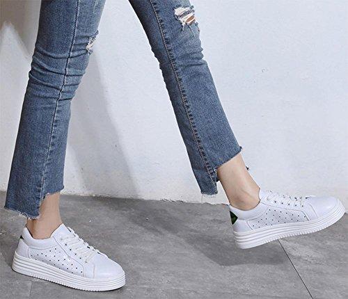 Spitze Boden Hohlsportschuh atmungsaktive Schuhe Frau Aufzug Schuhe fallen white green