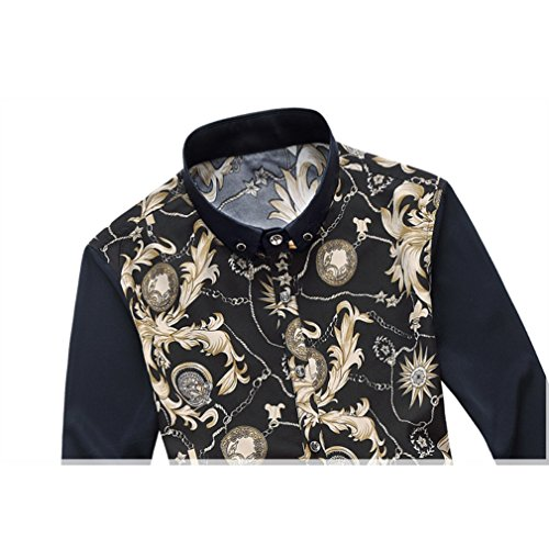 Honghu Herren Casual Stretch Modern Fit Langarm Button-down Blumen Printing Hemden Gelb