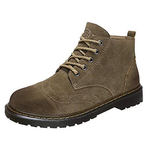 Ginli stivali in pelle scamosciata degli uomo stivaletti inverno martin stivaletti uomo impermeabile stringate boot stile militare