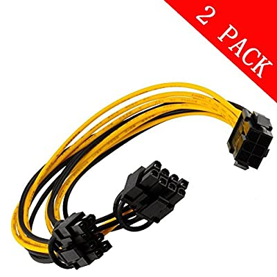 6pin PCI Express to 2 X PCIe 8 (6+2) pin & 6pin Motherboard Graphics Video Card PCI-e GPU VGA Y-splitter Hub Power Cable ?2 pack? par Kalolary