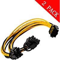 6pin PCI Express to 2 X PCIe 8 (6+2) pin & 6pin Motherboard Graphics Video Card PCI-e GPU VGA Y-splitter Hub Power Cable (2 pack)