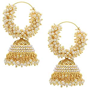 Shining Diva Pearl Stylish Fancy Party Wear Jhumki / Jhumka Earrings For Girls & Women(White)(7580er)