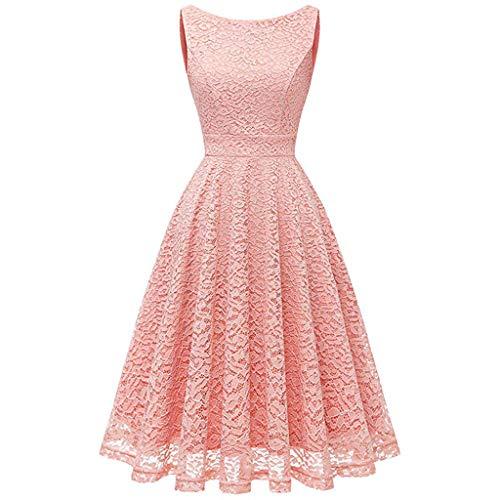 CixNy Rockabilly Kleider Damen, Abendmode Tüllkleid Altrosa Sommerkleider Abendkleid Weste Cocktailkleider Faltenrock Vest Brautjungfernkleid Crinoline Kleid