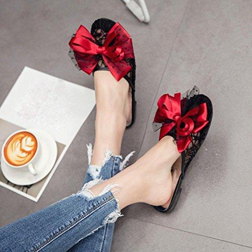 Transer® Damen Spitze Flach Slipper mit Groß Bowknot Schwarz Blau Rot Kunstleder+Gummi Drinnen Draußen Mode Transparent Hausschuhe Rot