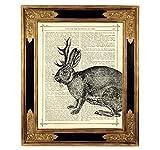 Wolpertinger Hase Kryptozoologie Poster Kunstdruck auf antiker Buchseite Mythologie Märchen Kaninchen Geschenk Steampunk Bild ungerahmt