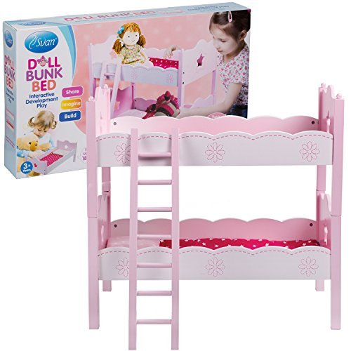 Svan Wood Doll Bunk Bed Fits American Girl Dolls with 2 Beds, Pillows, Blankets and Ladder