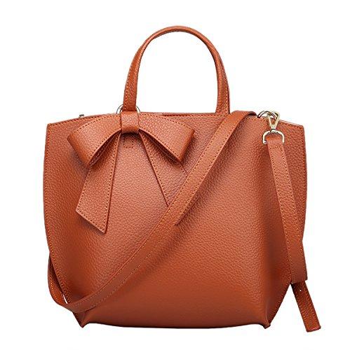 Dissa Q0771 Damen Leder Handtaschen Top Handle Satchel Tote Taschen Schultertaschen,33x12x26 B x T x H (cm) Braun