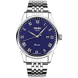 Amstt Herren Quarz wasserdicht Kalenderuhren Herrenuhren Blau Dial Stainless Steel-Band armbanduhr