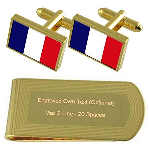 Select Gifts Martinique Flagge Gold-Manschettenknöpfe Geldscheinklammer Gravur Geschenkset -
