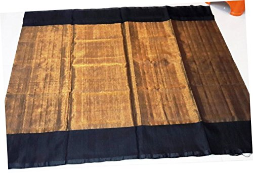 Uppada Plain Gold color Tissue Saree with black border (Zari by silk...