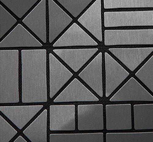 FZHLY Versione Coreana Del Semplice Pacchetto Selvaggio Laser Geometrica Ling Griglia Pieghevole Handbag,Red Black