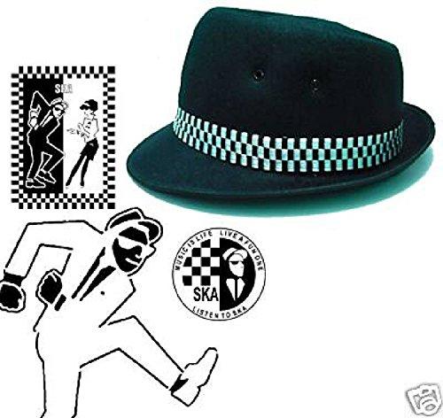 Ska Porkpie Hat Classic Black (différentes tailles Small - XL)