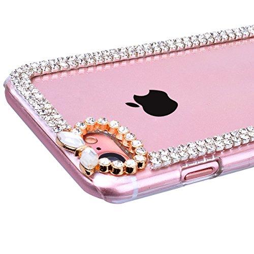 Cover per iPhone 7, VemMore Custodia in Durevole Difficile PC Cover in giro 3D Brillante Diamante Lusso Strass Handmade Glitter Caso di Trasparente Chiaro Cristallo Sottile Backcase del Plastica Prote Argento