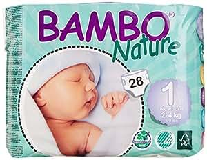 Bambo Nature Newborn Nappies Size 1 (2-4Kg, 4-9lb) - 6 x Packs of 28 (168 Nappies)