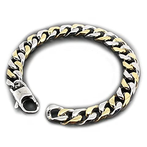 LINSION Two-strand Gold and Silver Colour Chain Bracelet Mens Biker