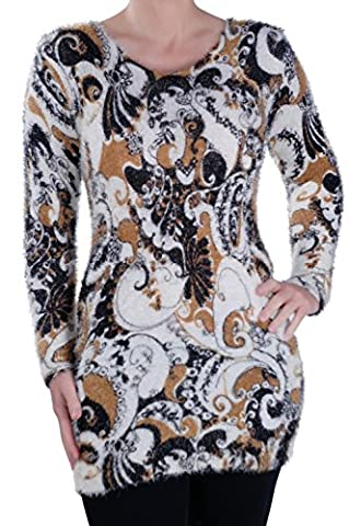 Womens Paisley Knit Scoop Neck Jumper Sweater Ladies Long Sleeve Pullover One Size