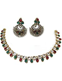 Shree Mauli Creation Maroon Green Alloy Maroon Green Small Tilak Drop Necklace Set For Women SMCN509