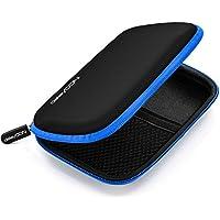 Funda deleyCON para discos duros / Funda HDD para discos de 2.5 y SDD - Sólida y segura - 2 compartimentos / interiores - Azul